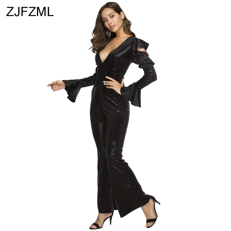 Black Sexy Rompers Piece Deep Pant Cut Long Sleeve Out Overall Sparkly Womens Neck V Bodysuit One Sequins Elegant Flare Jumpsuit wxgAgE6q