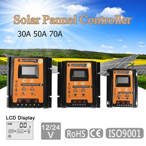 Image 5 - Şarj regülatörü 12V 24V 30A 50A 70A MPPT Solar şarj regülatörü güneş paneli bataryası regülatörü çift USB LCD ekran