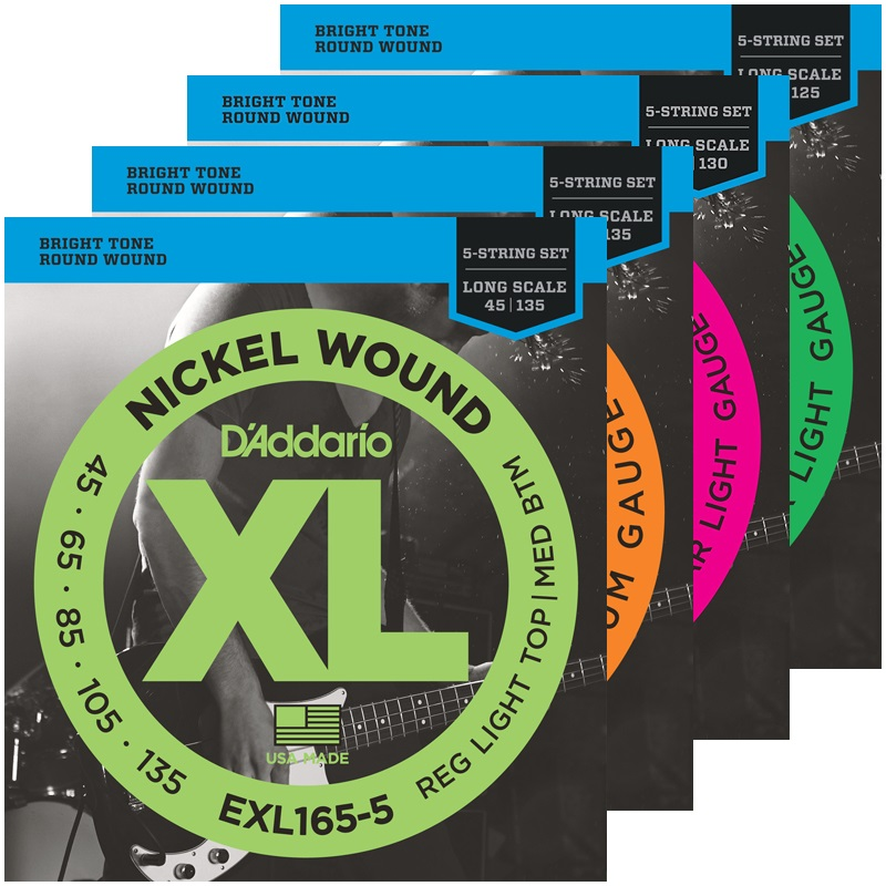 D'Addario 5-String Nickel Wound Bass Guitar Strings, EXL160-5 EXL165-5 EXL170-5 EXL220-5