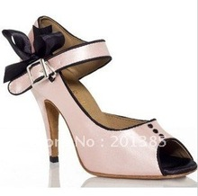 Free Ship Girls Pink Satin LATIN Shoes SALSA Dance Shoes Ball Latin Dance Shoes Tango Shoes