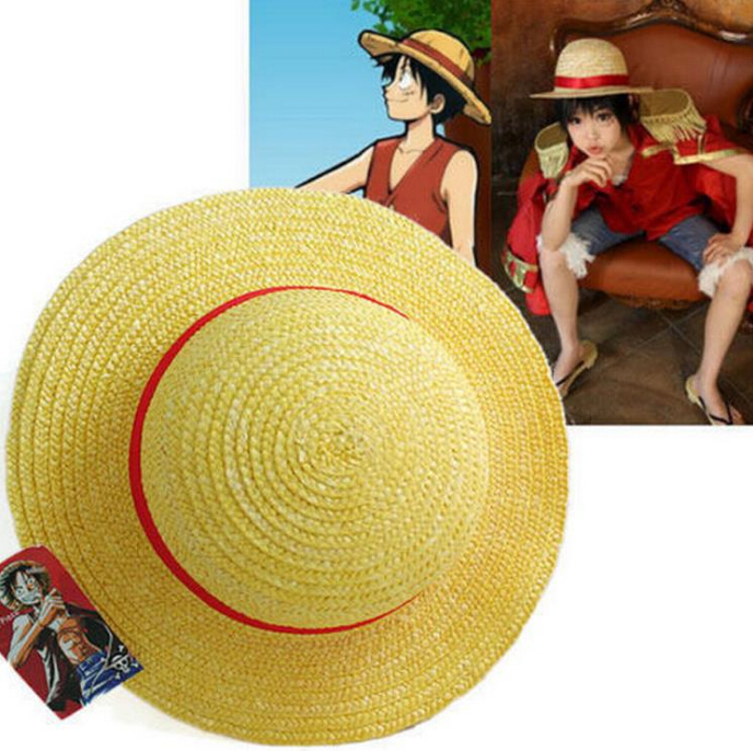 Anime One Piece Luffy Cosplay Straw Boater Beach Hat Cap Halloween