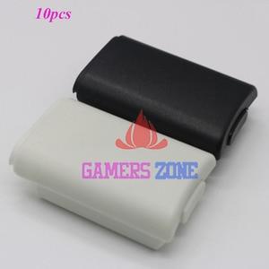Image 1 - 10 Uds AA batería carcasa trasera protectora funda, piezas de soporte para Xbox 360 Wireless Controller W/ Sticker negro blanco cada uno 5 uds