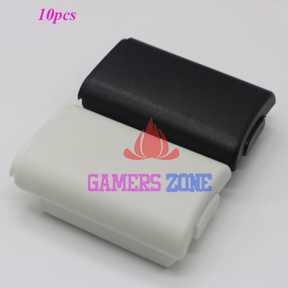 10pcs AA Battery Shell back Cover Holder Case Parts for Xbox 360 Wireless Controller W/ Sticker Black White Each 5pcs