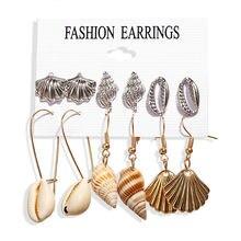 2019 Seashell Earrings Sets For Women Bohemian Shell Tassel Long Earring Stud Female Brincos Shell Beach Jewelry цена