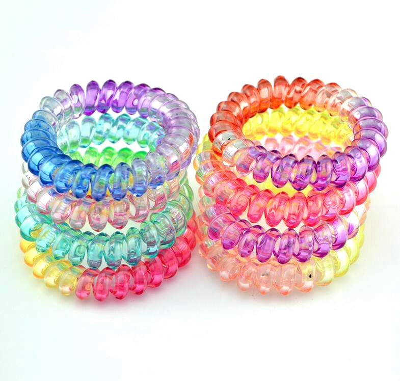 10 PCS ON Sale Telephone Wire Line Cord Mix Color Clear Colorful Rubber Tie Gum Elastic Hair Bands For Women Hair Accessories