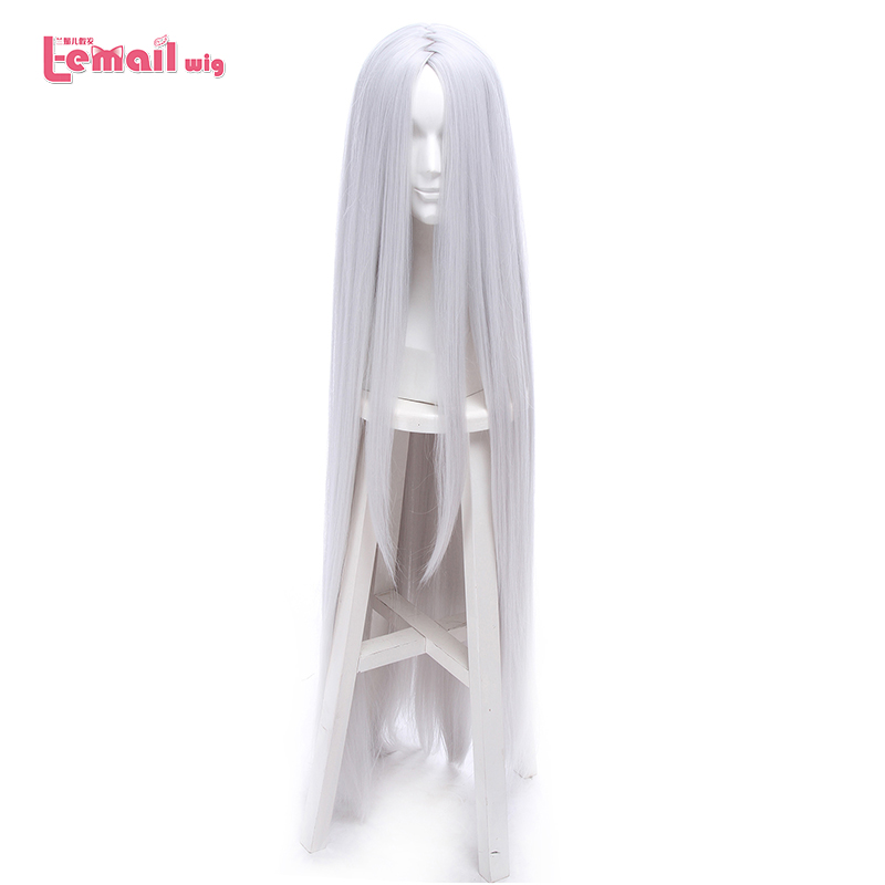 L-email Wig Kaguya Ootutuki Cosplay Wigs NARUTO Cosplay 120cm Long Silver Straight Hair Wig Heat Resistant Synthetic Hair Peruca