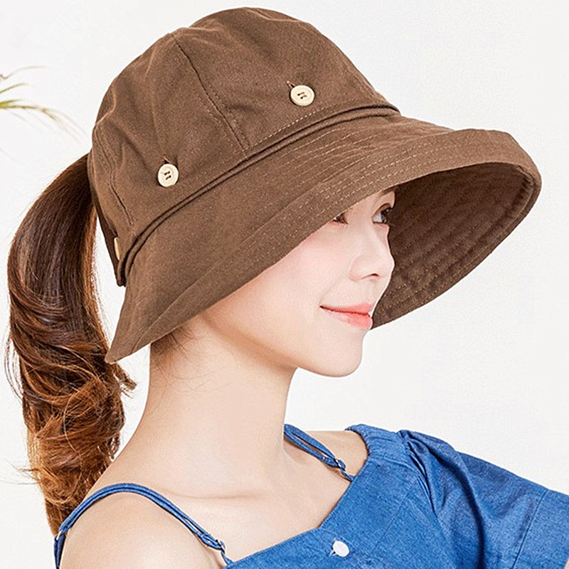 6786667a89099 SILOQIN Summer Adult Women s Hat 2018 New Style Removable Top Big Brim Sun  Hat UV Resistant Cloth Beach Hats For Women