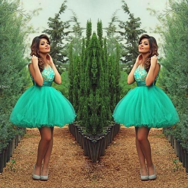 3b4252a71 Short Sexy Vestidos de Fiesta 2016 Sheer Cuello de Encaje de Tul Lindo  Barato octavo Grado