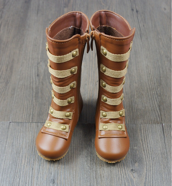 New brown gladiator baby shoes with fur snow winter warm boots soft handmade girl shoes boots knee high flat nonslip shoes