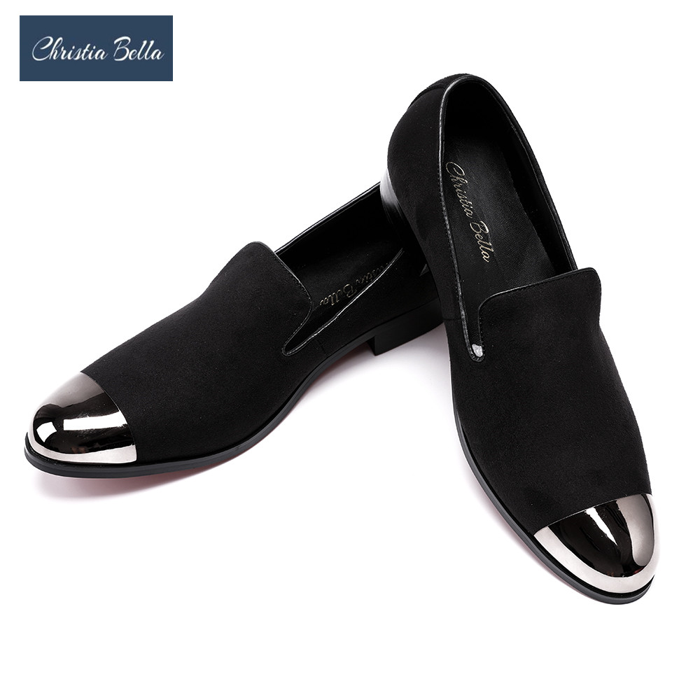 Christia Bella British Style Men Dress Shoes Men Velvet Loafers Party Shoes Smoking Slippers Driving moccasins Plus Size 38-47 british style genuine leather party dresses men loafers velvet slippers mens wedding formal shoes zapatos hombre vestir