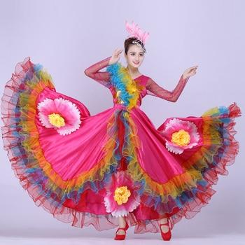 9a28ca38e Traje español niña vestido Flamenco rojo largo falda de salón Flamengo  niñas vestidos de baile ...
