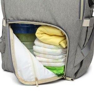 Image 4 - حقيبة حفاضات من LEQUEEN مزودة بواجهة USB ذات سعة كبيرة مضادة للماء حقيبة ظهر للأمهات مناسبة للسفر والمتاجر والحفاظات منظمة للحفاضات