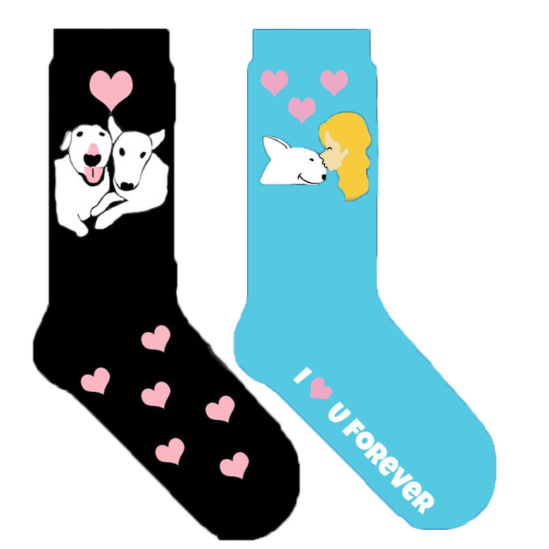 bull terrier crew socks with heart sock novelty valentine s day gift I love you present