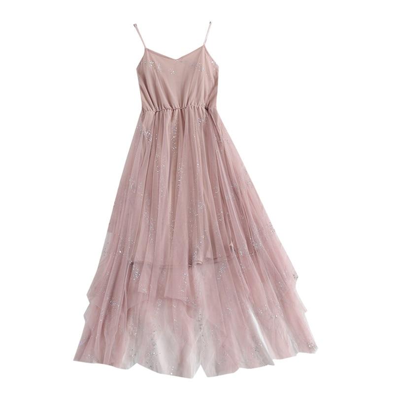 Hiawatha V-Neck Sequined Backless Sexy Dress Women Elegant Mesh Strap Dresses Summer Party Sleeveless Vestidos L9209 1