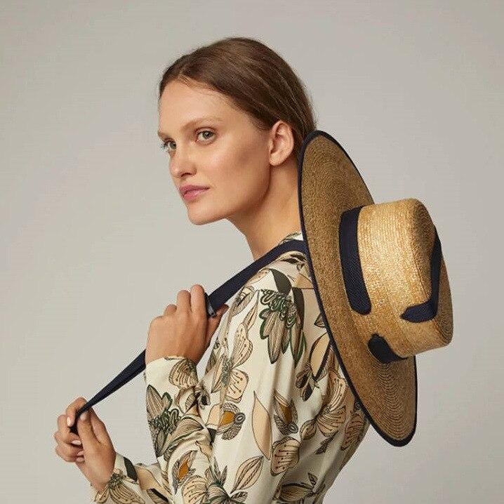 2019 широкая соломенная шляпа с широкими полями, шляпа на плоской подошве, женская летняя шляпа Кентукки Дерби, черная лента, галстук, шляпа пл