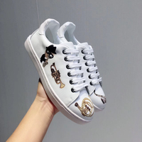 New 2018 White Leather Women Casual Shoes Graffiti Lace Up Shoes Tide Girl Flats Cozy Sneakers Hot Brand Designer Spring Shoes