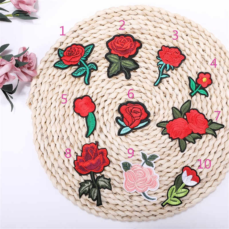1pcs Nieuwe Collectie rose bloem patches borduren applique kleding naaien patch DIY badge patch accessoires