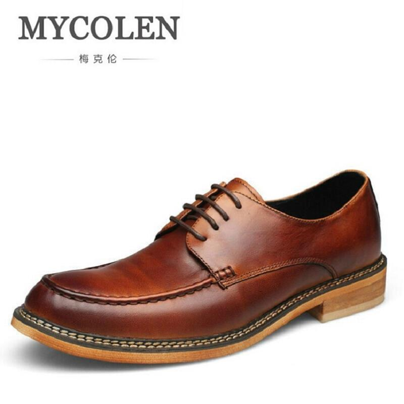 MYCOLEN Men's Dress Shoes Square Toe Gentlemen Leather Shoes Trendy Business Lace up British Fashion Men Shoes Sapato Masculino ремни lee ремень gentlemen