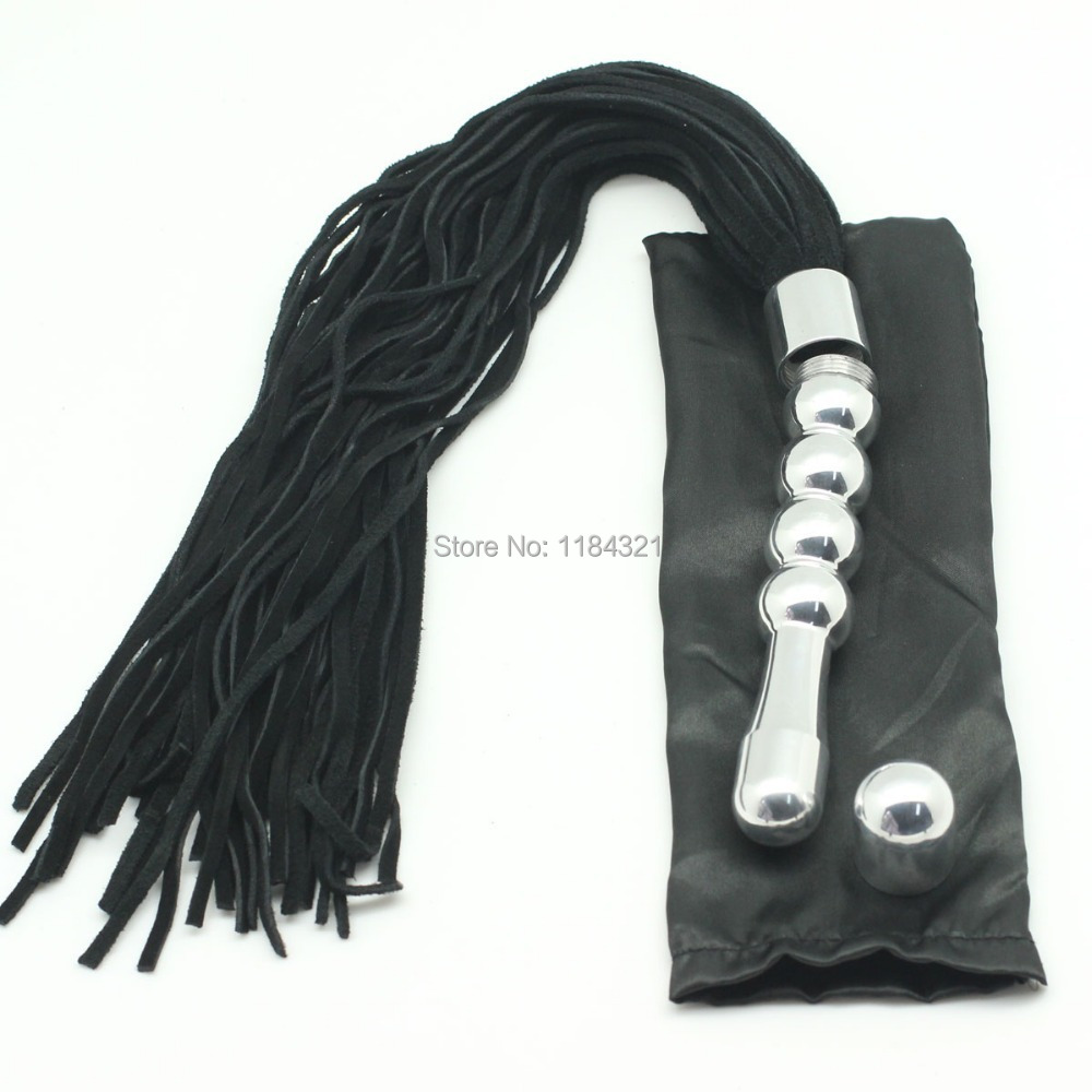 multi function suede leather flogger whip with metal handle used as anal butt plug sex spankng