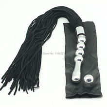 multi-function suede leather  flogger whip with  metal handle used as anal butt plug,sex  spankng leather whip with metal handle