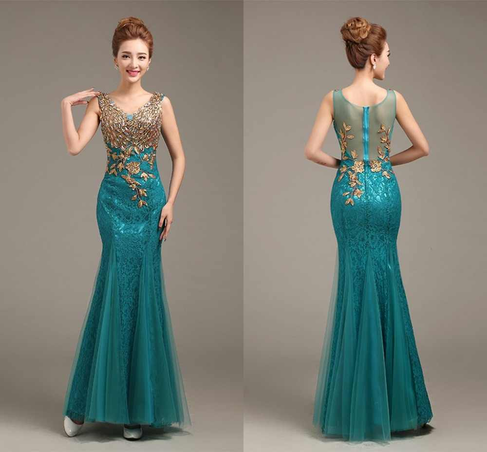 fcd3247a979 Ensotek 2019 High Quality Long Lace Dress Maxi Dress V-Neck Beaded Long  Mermaid Evening