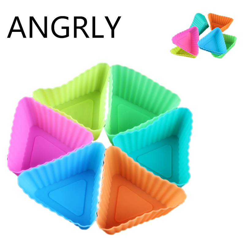 ANGRLY 10pcs Round shape Silicone Muffin Cupcake Mould Case Bakeware Maker Mold Tray font b Baking