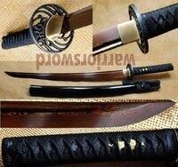 Japanese Samurai Sword Wakizashi Black and Red Folded Steel Full Tang Blade m561