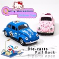 Free Shipping 1:32 VW Beetle Classic Alloy Diecast Car Model Toy Cartoon Vehicle Doraemon & Kitty Car