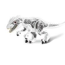 10PCS/LOT White Tyrannosaurus Rex Dinosaur Jurassic World Park Bricks Model Building Blocks Toys For Children