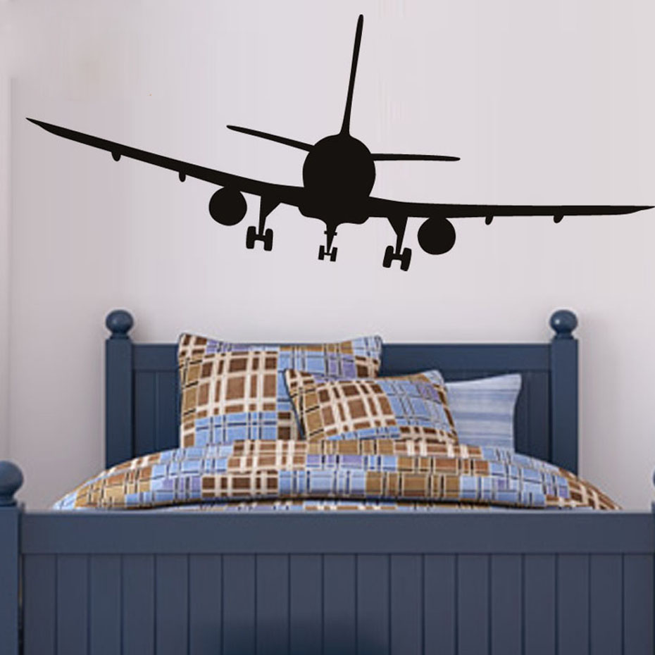 Vinyl Removable Commercial Airliner Wall Decal Home Decor Airplane Silhouette Wall Stickers For Bedroom X253