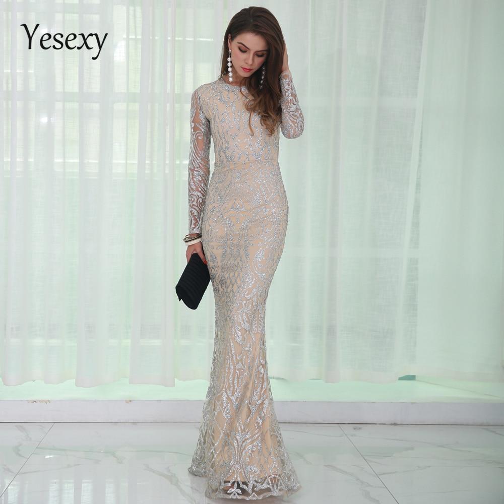 Yesexy 2019 Elegant O Neck Long Sleeve Pattern Glitter Women Party Dresses Summer Floor Length Maxi
