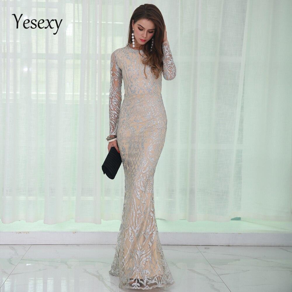 Yesexy 2019 élégant col rond à manches longues motif paillettes femmes robes de soirée été étage longueur Maxi robe vestidos VR8520