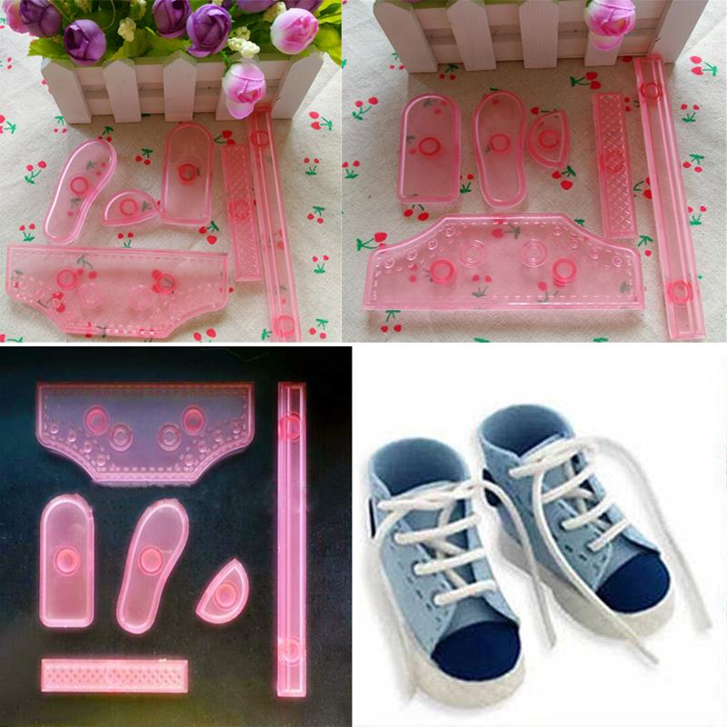 Sale 6Pcs Sneaker Shoes Icing Cake Decorating Tool Embosser Sugarcraft Embosseds Drop Shipping Sneaker Shoes Icing Cake ZH413