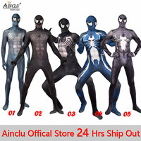 Men Boys Venom Spiderman Costumes 3D Print Symbiote Spider Man Movie Venom Edward Brock Cosplay Jumpsuit Zentai Spidey Suit CH
