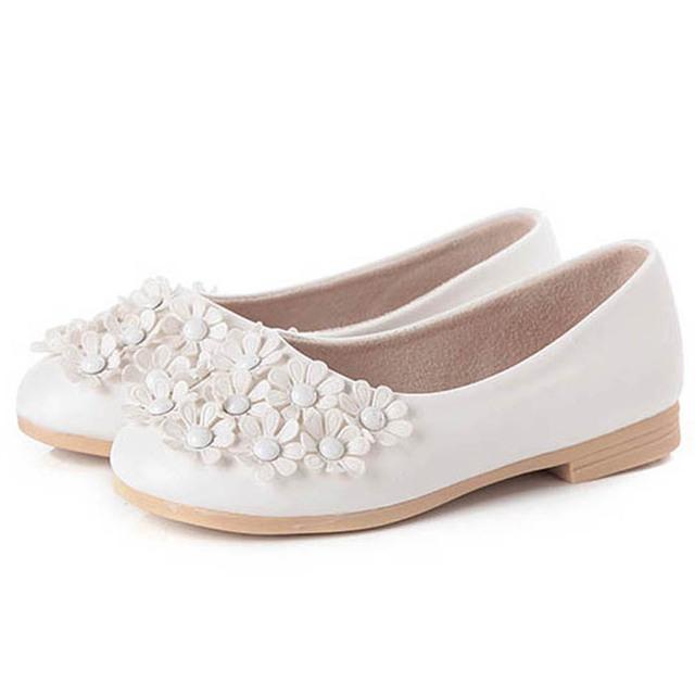 2017 branco crianças shoes para meninas flores meninas shoes primavera crianças meninas ballet shoes flats zapatos calçados infantis nina