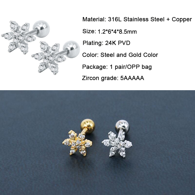 c42a6367b 316 Stainless Steel Snowflake Zircon Screw Earring Tragus Ear Piercing Body  Jewelry-in Stud Earrings from Jewelry & Accessories on Aliexpress.com |  Alibaba ...