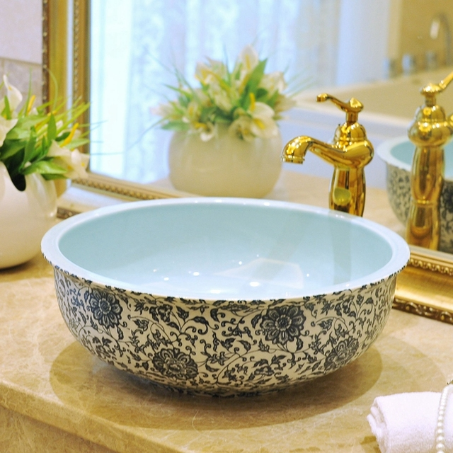 China Vessel Sink Handmade Antique Ceramic Wash Basin