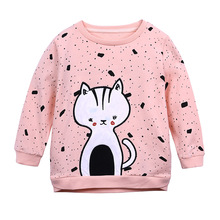 Hot baby girls boys cartoon sweater cotton printing t-shirts childrens Cat t shirts tees tops clothes
