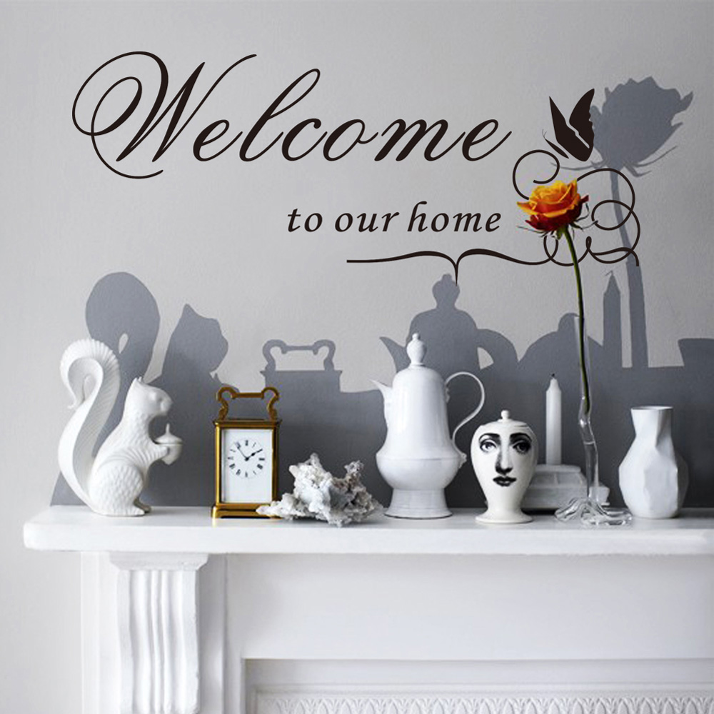 Willkommen Auf Unsere Startseite Englisch Wort Abnehmbare PVC Wandaufkleber DIY Dekoration Wohnzimmer Tapete Aufkleber Wandtattoo