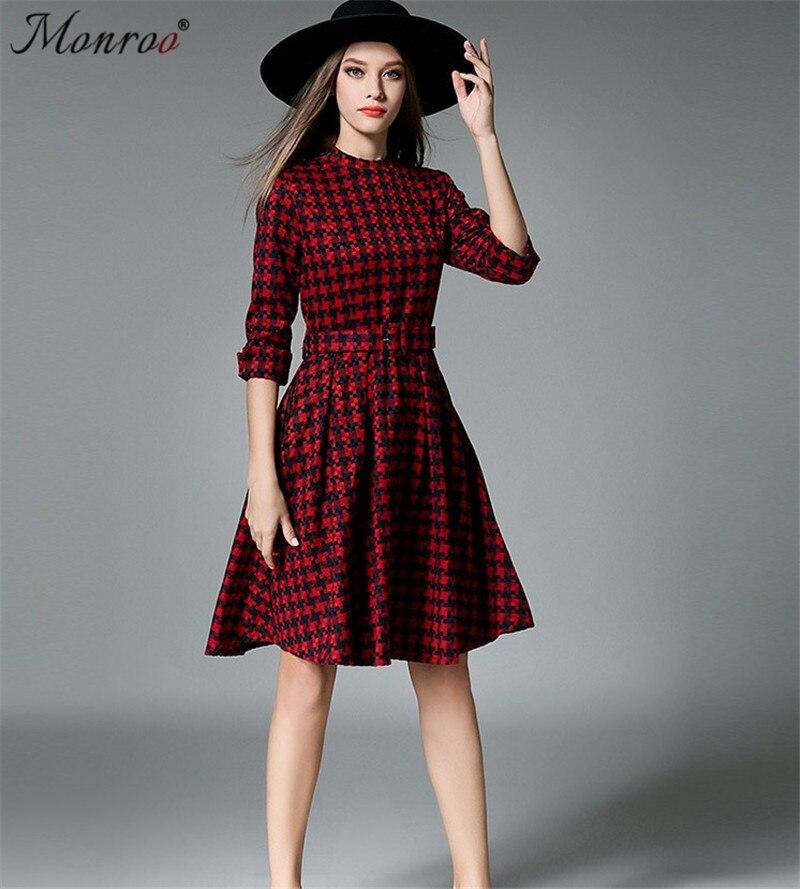 Monroo Women Solid Knee-Length Dress with Sashes Plaid Three Quarter O-Neck Dresses A-Line Casual Business Office Work Dress