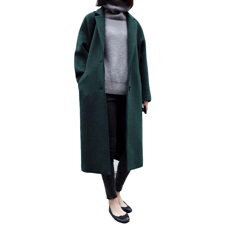 Autumn Winters Woollen Cloth Coat Dust Coat Woolen Cloth Coat Long Son Female Big Yards Solid Long Sleeve Slim Overcoat