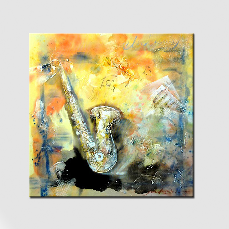 Simple Abstract Picture Saxophone Wall Art Painting Handmade Canvas ...