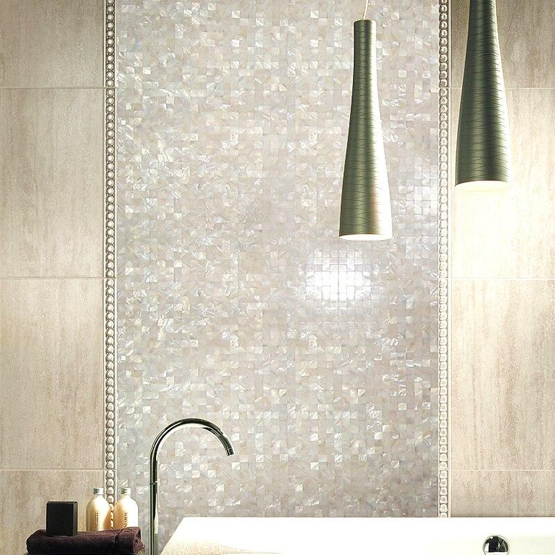 White Square Seamless Mosaic Backspalsh Pearl Shell Tile for Bathroom Kitchen Pool Mesh Backing 10 Panels 9.6 Sq.Ft