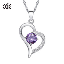 CDE Women Pendant Necklace Jewelry 925 Sterling Silver Cubic Zirconia Heart Fashion Necklace Romantic Valentine's Day Gift(China)
