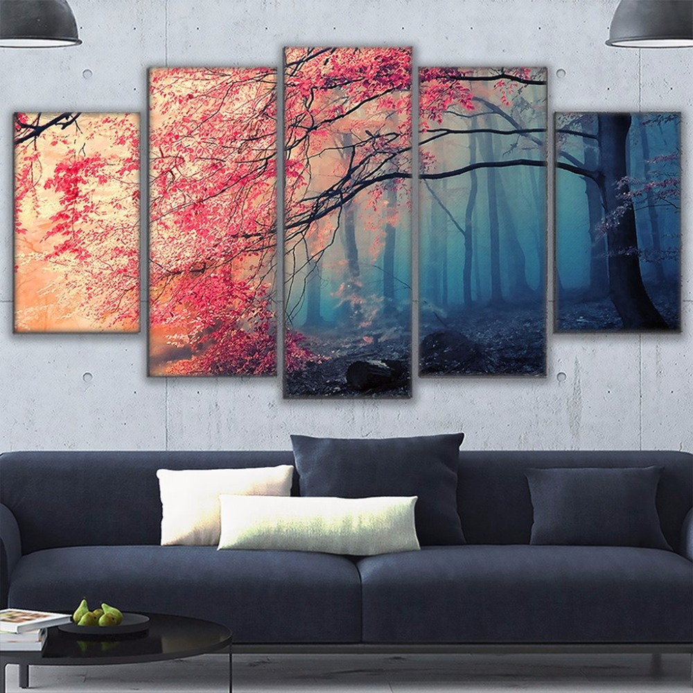 Poster HD Prints Modern Wall Art Canvas For Living Room 5 Pieces Cherry Blossoms Pictures Decor Red Trees Forest Painting 1