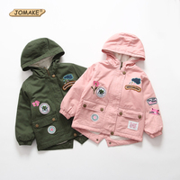 JOMAKE Children Outerwear 2017 New Winter Brand Kids Clothes Fashion Embroidery Appliques Baby Fleece Windbreaker Jackets