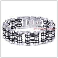 9x21mm 140g Heavy Huge Silver Black Biker Jewelry 316L Stainless Steel Men's Jewelry Motorcycle Chain Bangle Bracelet Good Gift