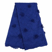 Royal blue hand cut lace with 3d flowers 5yards/pcs new fabric for sewing african party handcut lace dress Sep-13-2017