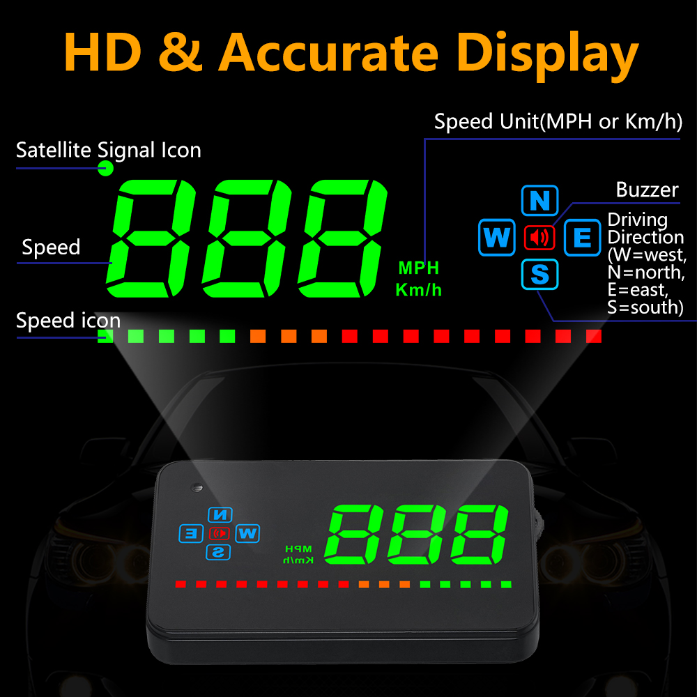 Image 2 - GEYIREN A2 HUD GPS Digital Speedometer Head Up Display Overspeed Warning Alarm Windshield Projector For Car-in Head-up Display from Automobiles & Motorcycles