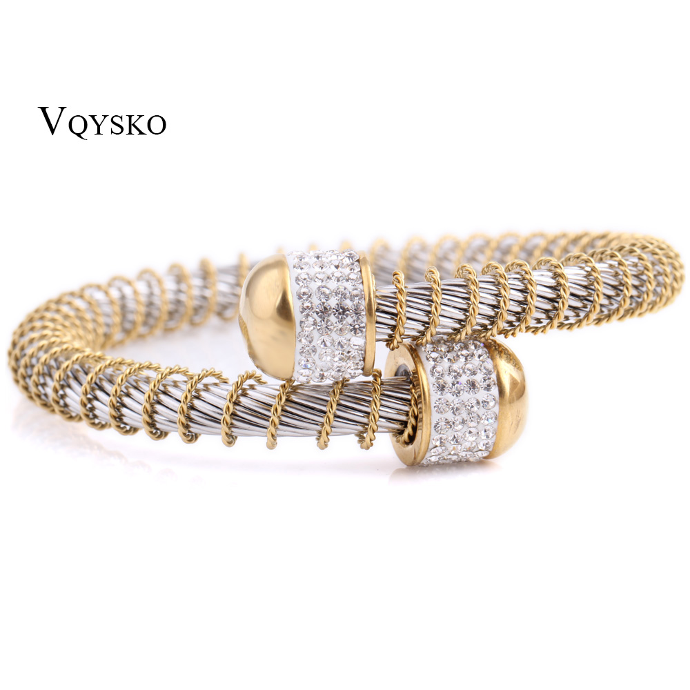 Two Colors Fashion Women Stainless Steel Jewelry Elastic Wire Charm Clasp Bracelets Bangles